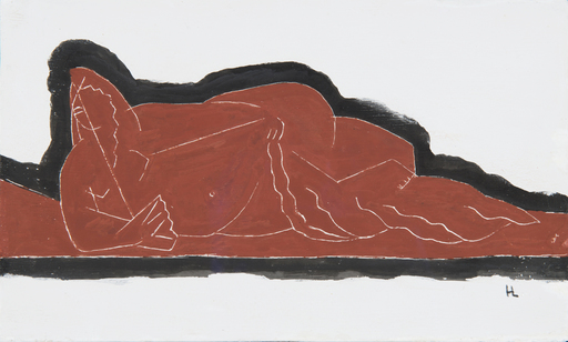 Henri LAURENS - Dibujo Acuarela - Nu à l'éventail