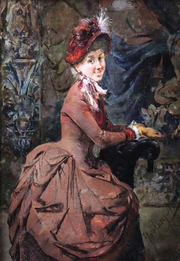 Harry Humphrey MOORE - Pintura - Portrait of a lady