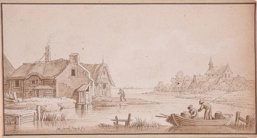 "Johann Jacob HOCH - 水彩作品 - ""Dutch Landscape"", Drawing"