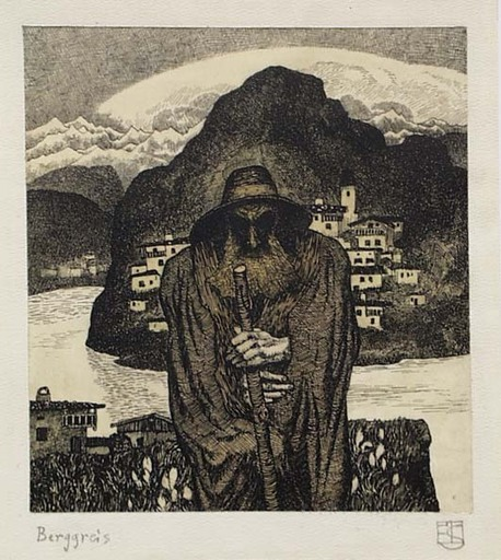 """Erwin STOLZ - Zeichnung Aquarell - Erwin Stolz (1896-1987), """"The Elder from the Mountains"""""""