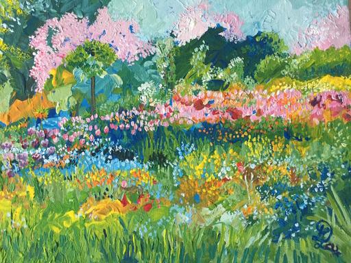 Delphine LACROIX - Peinture - Cerisiers dans le Jardin de Monet