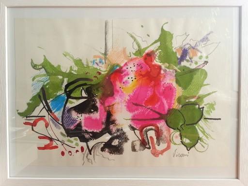 """Enrico VISANI - Dibujo Acuarela - """"Fleur"""" - Fleurs"""
