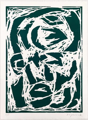 A.R. PENCK - Druckgrafik-Multiple - Kopf (Grün)