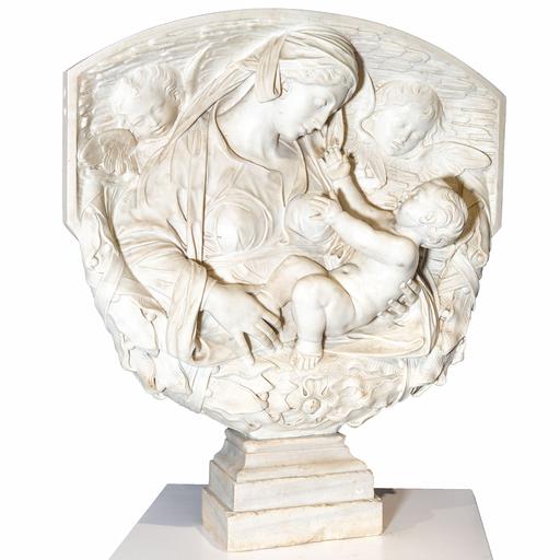 Alceo DOSSENA - Sculpture-Volume - Maternità con angeli