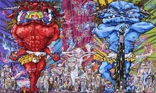 Takashi MURAKAMI (1962) - Red Demon and Blue Demon with 48 Arhats