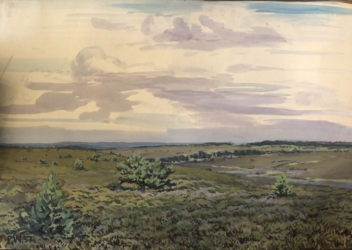 Paul WENDT - Dibujo Acuarela - Lüneburger Heide