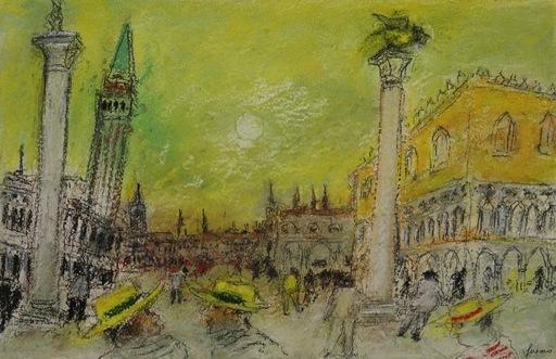 Jean FUSARO - Zeichnung Aquarell - Les chapeaux jaune de la place Saint-Marc