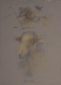 Antonio POSSENTI - Zeichnung Aquarell - Volto