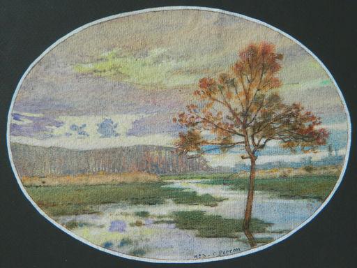 Charles Clément PERRON - Zeichnung Aquarell - PAYSAGE - LANDSCAPE