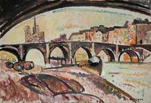 Pinchus KREMEGNE - Peinture - Vue de Notre-Dame