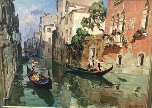 Angelo BROMBO - Pittura - Canale veneziano