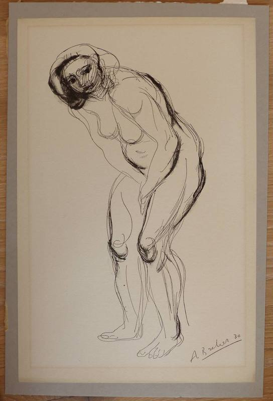 Arno BREKER - Drawing-Watercolor - Akt