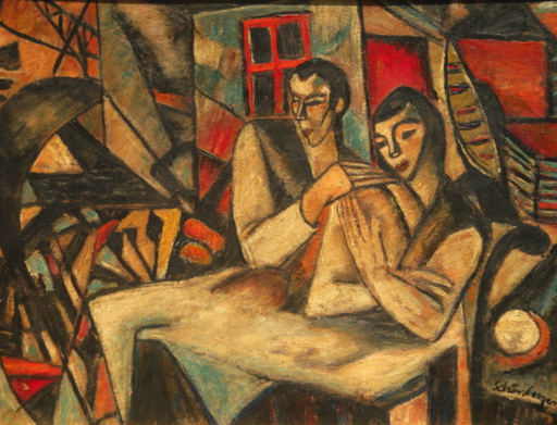 Armand SCHÖNBERGER - Gemälde - Liebespaar, Lovers ,E xpressionism