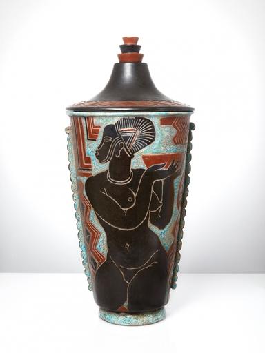 René BUTHAUD - Ceramic - Grand vase et son couvercle