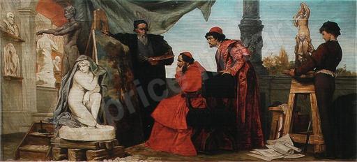Edmund HARBURGER - Pintura - Kardinal Alessandro Farnese in der Werkstatt Tizians,Italy