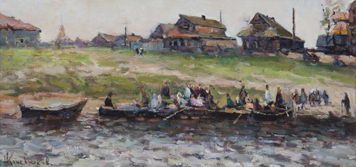 """Ivan Vasilievich KOZHEVNIKOV - Peinture - """"Boote am Ufer des Galitscher Sees"""""""