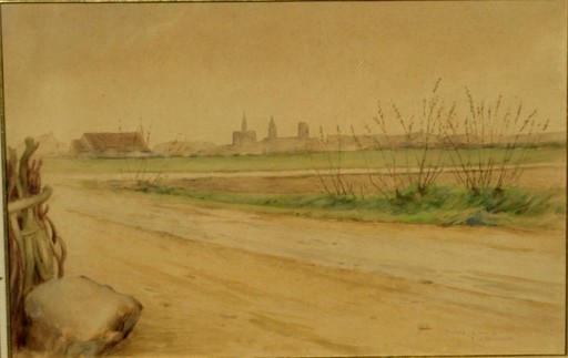 Ernest Jean DELAHAYE - Drawing-Watercolor - VUE DE FURNES EN BELGIQUE