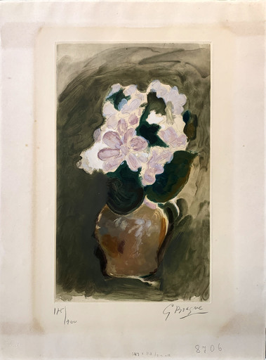 Georges BRAQUE - Grabado - Le Bouquet rose