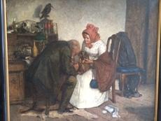 Felix SCHLESINGER - Painting - Beim Tierarzt