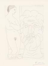 Pablo PICASSO - Print-Multiple - Modèle et Grande Tête sculptée, Pl.61 from 'La Suite Voll