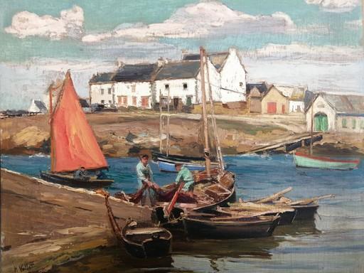 Henry Emile VOLLET - Painting - Sur la cale de Trévignon, Bretagne