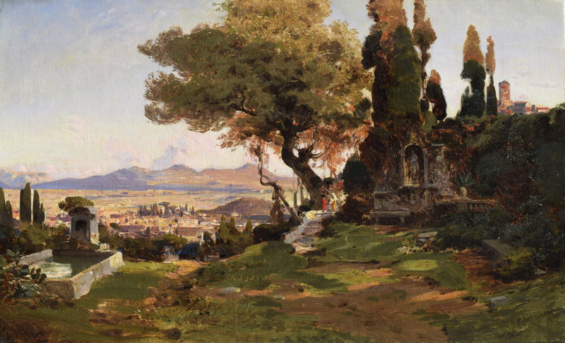 Christian Johannes WILBERG - Pintura - The oak of Torquato Tasso on the Janiculum