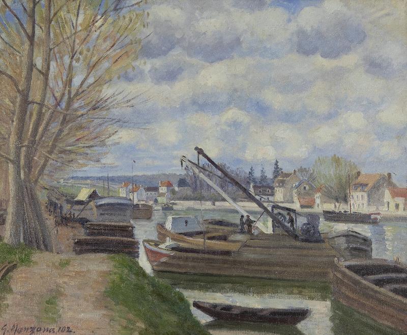 Georges MANZANA-PISSARRO - Painting - Péniches sur la Seine
