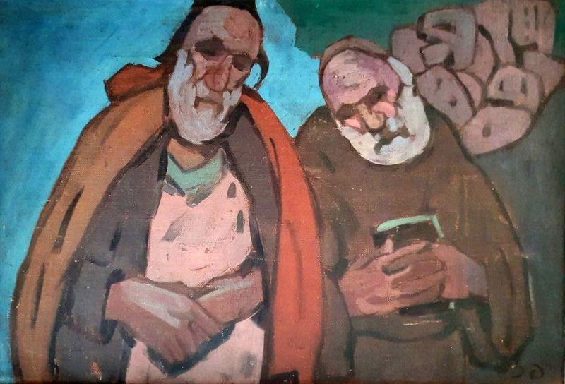 Pinchas LITVINOVSKY - 绘画 - Two Rabbis