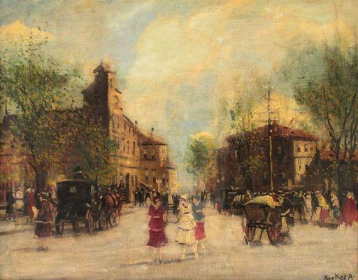 Antal BERKES - Painting - Street View