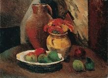 Pierre Jean DUMONT - Peinture - Still life with bowl of fruits