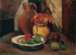 Pierre Jean DUMONT - Gemälde - Still life with bowl of fruits