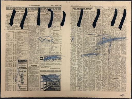 Antoni TAPIES - Painting - Paper de diari amb nou ratlles