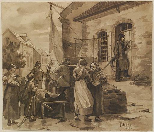 "Franz POLEDNE - Drawing-Watercolor - ""Drowned"", 1892"