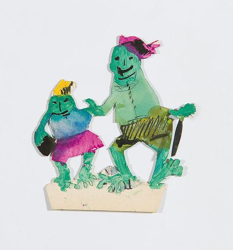 Oskar LASKE - Zeichnung Aquarell - Froschpaar