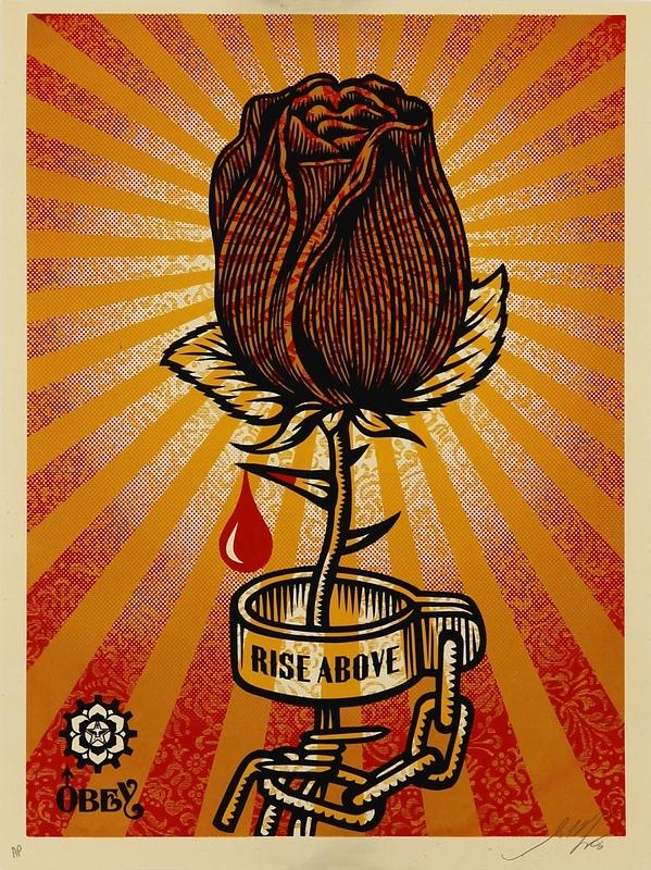 shepard fairey rose shackle  artwork on the marketplace