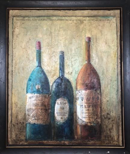 Dina PODOLSKY - Painting - Three Vintage Bottles