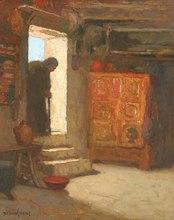 Louis Marie DESIRÉ-LUCAS - Pintura - ntérieur Breton ou la Mendiante (circa 1912)