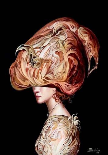 Carlos SABLÓN - Peinture - Femme au Chapeau