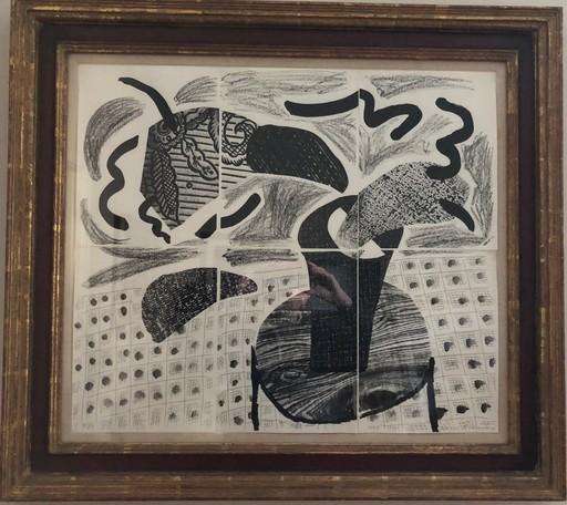 David HOCKNEY - Stampa-Multiplo - Black plant on table