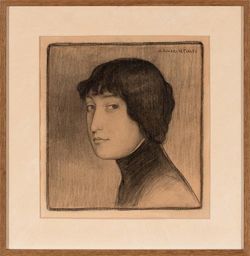 Julio ROMERO DE TORRES - Drawing-Watercolor - Retrato femenino con copa