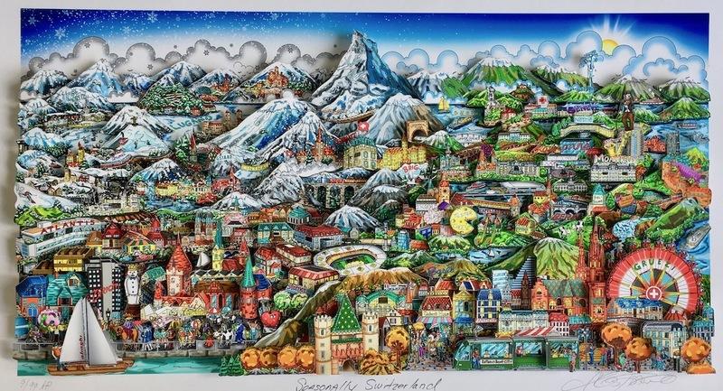 Charles FAZZINO - Print-Multiple - Seasonally Switzerland