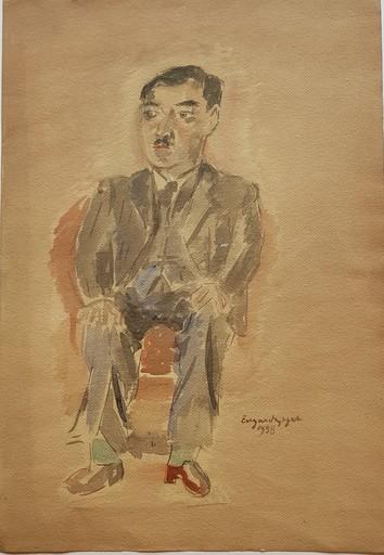 Edgard TYTGAT - Zeichnung Aquarell - Portrait d'un homme assis (Ch. F.)