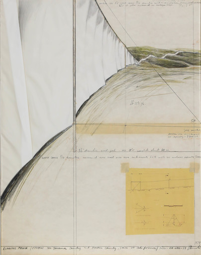 CHRISTO - Dibujo Acuarela - Running Fence (Project for Sonoma County and Marin County, S