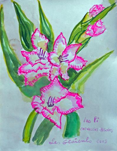 Jean-Pierre CHEVASSUS-AGNES - Drawing-Watercolor - fleurs de GLAIEULS roses dans mon jardin
