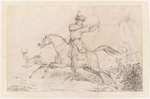 "Josef Anton STRASSGSCHWANDTNER - Dibujo Acuarela - ""Tartarian Hunt"", Drawing, middle 19th Century"