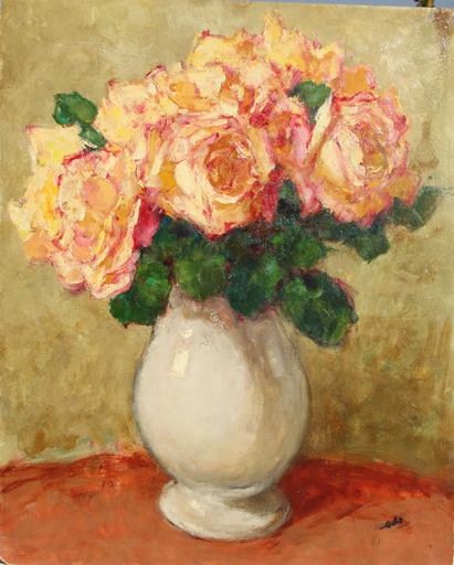 Georges GOBO - Peinture - VASE AUX ROSES