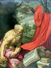 Hendrick VAN SOMER - Pintura - Saint Jérôme traduisant la bible