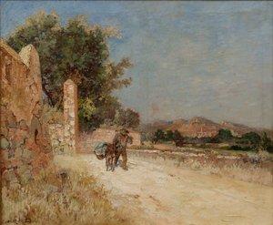 "Emile ROBERT - Pintura - ""PAYSAGE PROVENCAL A L'ÂNIER"""