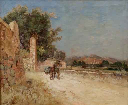 """Emile ROBERT - Peinture - """"PAYSAGE PROVENCAL A L'ÂNIER"""""""