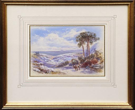 Charles Edmund ROWBOTHAM - Disegno Acquarello - Misano, Bay of Naples
